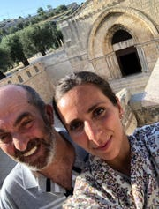 Abdelfattah Abdrabbo with his daughter, Amali Abdrabbo Elabed, at Tomb of the Virgin Mary in Jerusalem.