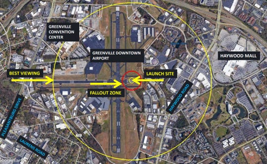 A map of how Greenville's 4th of July fireworks show will be conducted at the Greenville Downtown Airport amid coronavirus concerns.