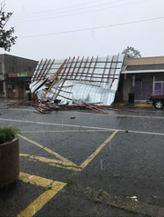 Damage to a Mamou business' roof from a storm Friday that the National Weather Service said produced a tornado.