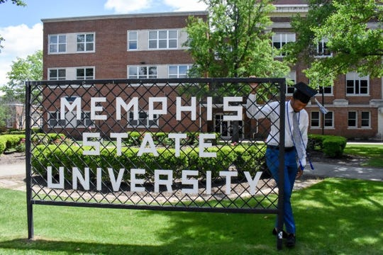 Caleb Walton graduated from the University of Memphis Saturday. He watched the virtual ceremony with his parents in Nashville.