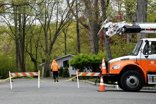 A section of Canterbury Drive is blocked off because of a downed tree on Saturday, May 9, ,2020.