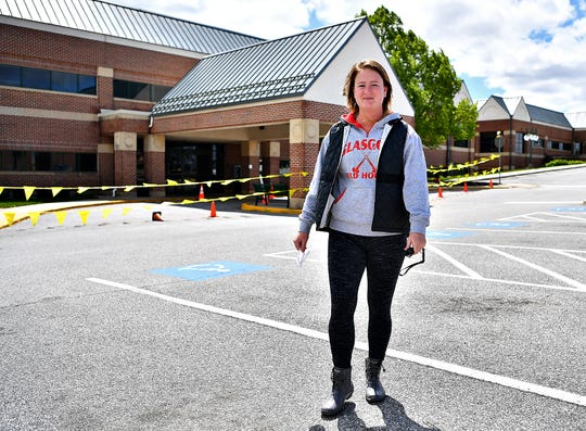 COVID-19 survivor Megan Hoard, 28, of Manchester Township, is photographed outside of the WellSpan Blood Donor Services at WellSpan Apple Hill Medical Center in York Township, Saturday, May 9, 2020. Hoard's dominant symptoms were the loss of taste and smell, which she experienced for about a week. She was the first survivor to donate plasma at a WellSpan facility. Dawn J. Sagert photo