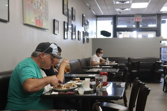 David and Judi Laymon eat at Weiss Deli & Bakery on the first day of Nevada's Phase One reopening.