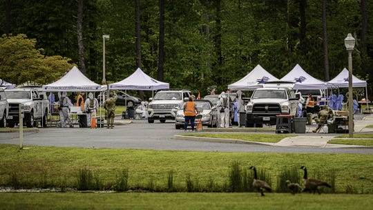 Several tents were set up for drive-thru testing Friday and Saturday at Eastern Shore Community College in Melfa and for test recipients to answer a short voluntary survey to help the CDC understand COVID's spread on the Eastern Shore.