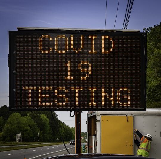 A highway sign on U.S. 13 directs drivers to the back entrance to the Eastern Shore Community College in Melfa for COVID testing. The Eastern Shore Health District is offering free drive-thru testing clinics Friday and Saturday at the college.  Trained teams from the Virginia National Guard will administer the tests, and Health Department staff will provide information on protecting yourself and others from COVID-19. Attendees can also answer a voluntary five-minute questionnaire that will remain confidential.