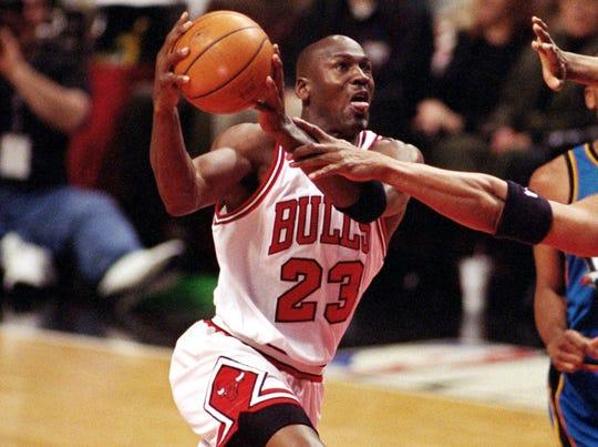 Michael Jordan during an April 1998 game.