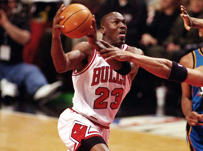 Michael Jordan during an April 1998 game.