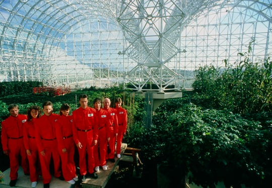 Mark Nelson, left, Linda Leigh, Taber MacCallum, Abigail Alling, Mark Van Thillo, Sally Silverstone, Roy Walford and Jayne Poynter during the final construction phase of Biosphere 2 in 1990.