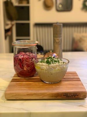 Baba ghanoush and pickled onions