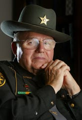 Sheriff Dwight Radcliff of Pickaway County, known for his no-nonsense mode of operations, is the longest-serving sheriff in the nation with 41 years as sheriff and 7 years before that as a deputy. Seen May 9, 2005. (Columbus Dispatch Photo by Garrett Hubbard)