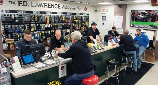 Sales counter at F.D. Lawrence Electric Co. in Cincinnati's South Cumminsville neighborhood