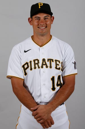 Pirates catcher Luke Maile stands for a picture during media day.