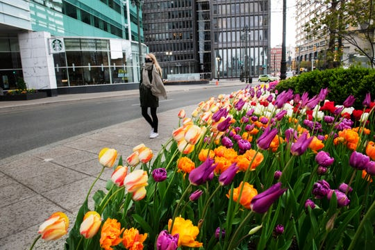Wearing a heavy scarf to ward off the chill and a face mask to keep the virus at bay, Samantha Simpson of Waterford Township walks in a light rain past tulips lining Campus Martius Park in downtown Detroit on her way to pick up a Mother's Day cake from Plum Market.