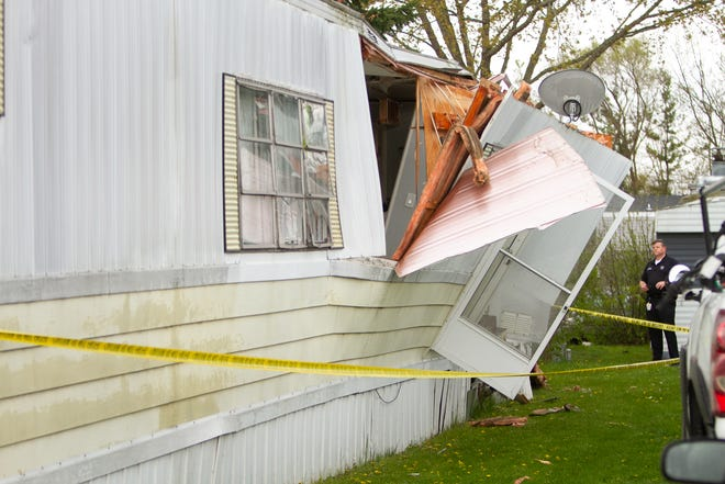 An explosion at a home in the 160 block of Orleans in the Howell Estates manufactured housing community Sunday, May 10, 2020   damaged the residence.