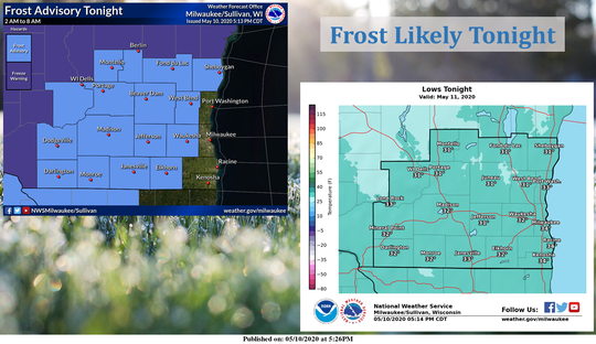 Frost is expected Sunday night and early Monday throughout most of southern Wisconsin though not areas along Lake Michigan.