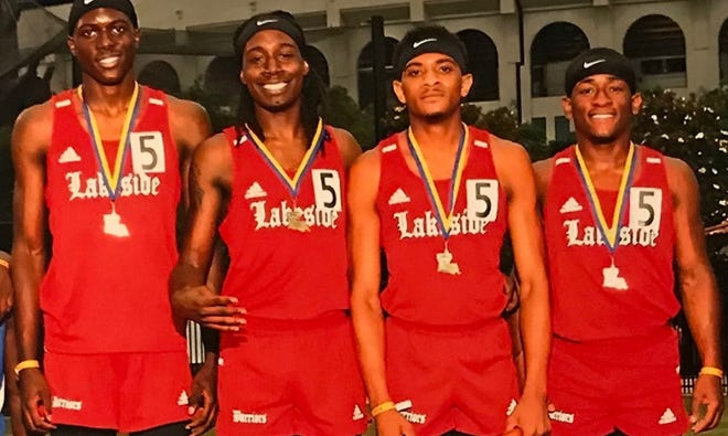 The 2019 LHSAA Class 2A state championship 4x100 relay team for Lakeside included Ondray Miles, Austin Sims, Zach Sumlin and Tyrese Myles.