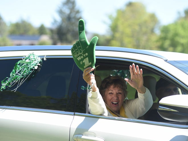 Smyrna Presbyterian Church in Waynesboro honored its two high school seniors Sunday with a parade of members driving by their houses. Emma Johnson and Ben Gordon are both graduating from Wilson Memorial High School.