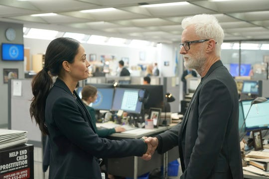 """Fernanda Andrade, left, and John Slattery star in """"Next,"""" a drama Fox has delayed to fall to help guarantee a supply of new programming for the start of the 2020-21 TV season."""