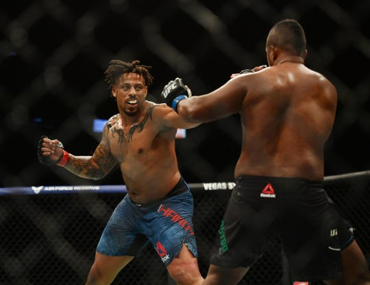 Greg Hardy (red gloves) fights Yorgan De Castro (blue gloves) during UFC 249 at VyStar Veterans Memorial Arena.
