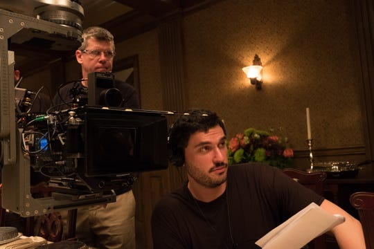 "Director Josh Trank, right, pictured on the set of ""Capone."""