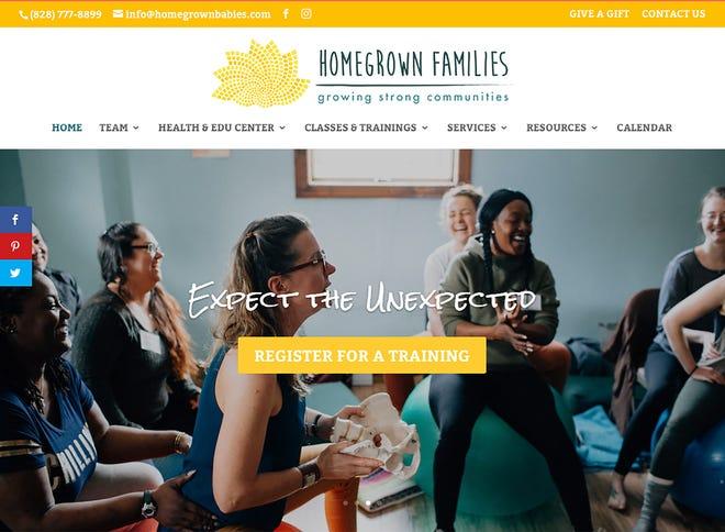 A screen shot of the Homegrown Families website