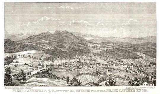Herline & Hensel Lith. Philad. Hayes & Zell Publishers Philad. VIEW OF ASHEVILLE N.C. AND THE MOUNTAINS FROM THE BEAUX CATCHER KNOB.