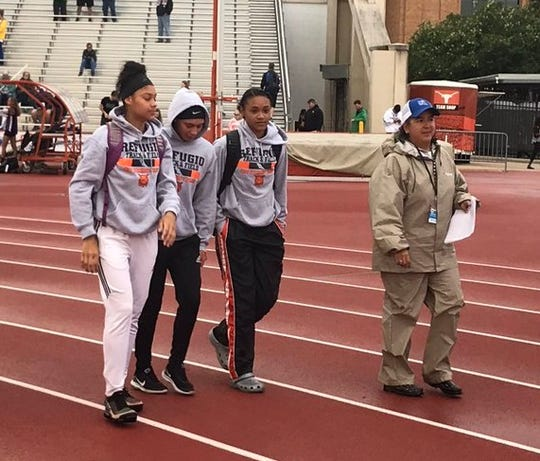 Refugio's TraceLynn Ross, Jai'lin King and Alexa Valenzuela finished first, second and third in the Class 2A girls long jump to sweep the podium at the UIL State Track Meet in 2019.