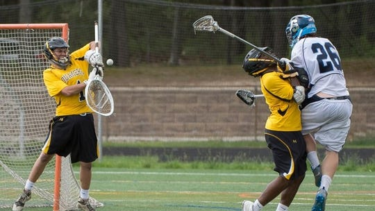 Shawnee's Curtis Corley takes a shot at the end of the 2014 South Jersey Group 3 championship against Moorestown in 2014.