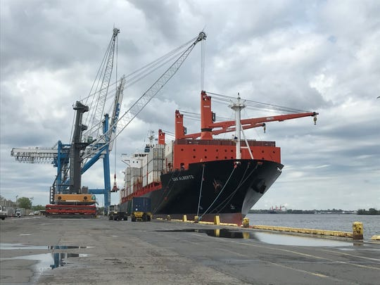 The San Alberto, a cargo ship from Guatemala, is unloaded at the Gloucester Marine Terminal.