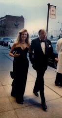 Henry Ford II and Kathleen DuRoss Ford arrive at the Detroit Institute of Arts for the museum's 100th birthday bash on April 13, 1985.