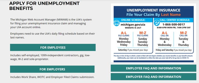 Michigan unemployment page.