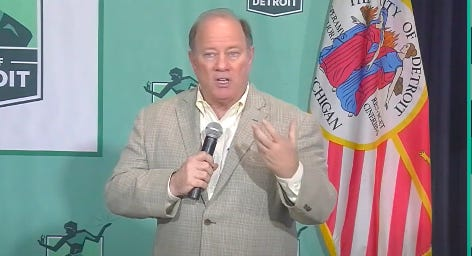 Detroit Mayor Mike Duggan speaks Monday, May 11, 2020, at the city's daily press briefing on the coronavirus pandemic.