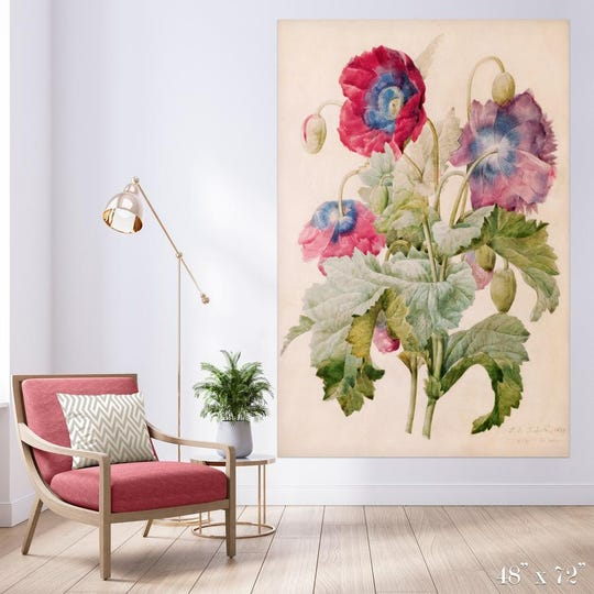 Detroit Wallpaper Company's Poppies Colossal Art Print is 48 inches by 72 inches and printed on matte paper.