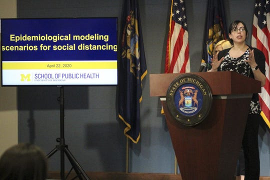 Dr. Marisa Eisenberg, an epidemiology professor at the University of Michigan, speaks at a press conference with Gov. Gretchen Whitmer on April 22, 2020.