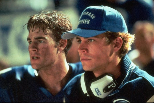 "Nevermind the plotholes. Yes, that's Paul Walker, playing a high school senior and filling in as a head coach for James Van Der Beek's West Canaan Coyotes in ""Varsity Blues."""