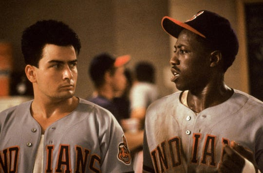 "Charlie Sheen, left, and Wesley Snipes are two of the underdog Cleveland Indians in ""Major League."""