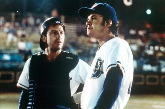 "Kevin Costner (left) and Tim Robbins in ""Bull Durham."""