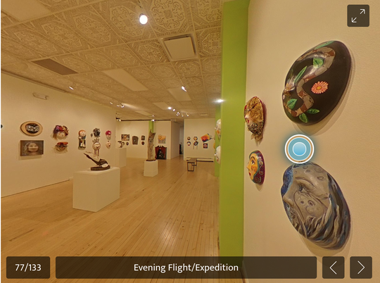 """A screengrab shows a scene from the Museum of Art Fort Collins' virtual tour of its """"Masks"""" exhibition and auction."""