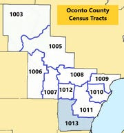 This is a map of the census tracts in Oconto County. In tract 1013, 17 cases of COVID-19 are residents of that area, out of 28 in the county as of May 11.