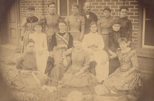 This photo (circa 1890) shows Albert Rowell with the serious young ladies in his class at the Methodist Sunday School. All were wives or daughters of mill supervisors. He had started the Sunday School and taught classes for many years.