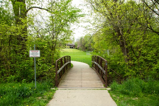 A footbridge over Willow Creek is seen, Monday, May 11, 2020, at Willow Creek Park in Iowa City, Iowa.