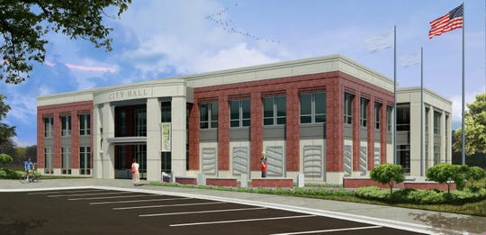 This rendering shows Ridgeland's new City Hall, currently being constructed at the corner of Mississippi 51 and West School Street. Dean and Dean/Architects Associates designed the building. Mid-State Construction is the contractor and Benchmark Construction is the construction manager.