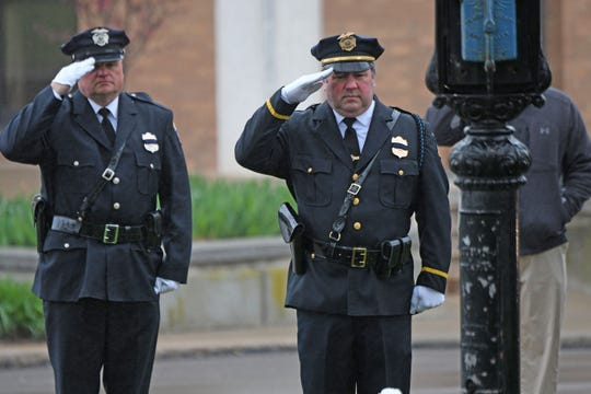 A service was held Monday morning in Central Park to honor fallen members of the Mansfield Police Department.