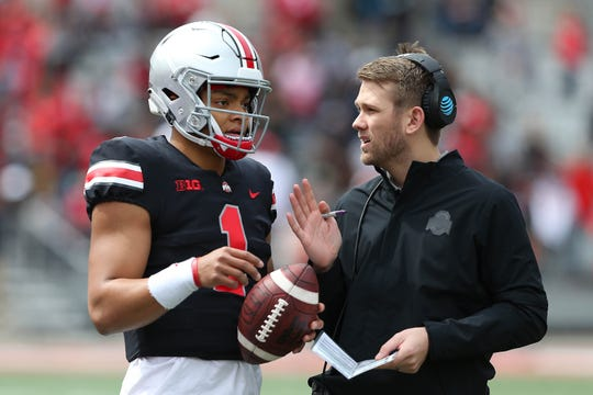 Corey Dennis, son-in-law of former Ohio State coach Urban Meyer, is in his first year as the Buckeyes' quarterbacks coach.