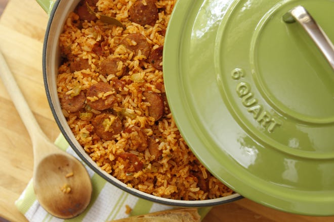 """Andouille Jambalaya from 'The Southern Pantry Cookbook"""" by Jennifer Chandler."""