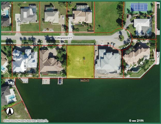 Aerial photograph of 1631 Collingswood Court on Marco Island, Florida.