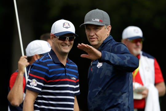 Zach Johnson, left, and Davis Love III were named vice captains for the 2020 U.S. Ryder Cup team on Monday.