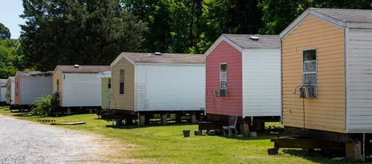 """Trailers used to house released prisoners as part of Curtis """"Chap"""" Browder's mission in Montgomery, Ala., on Monday May 11, 2020."""