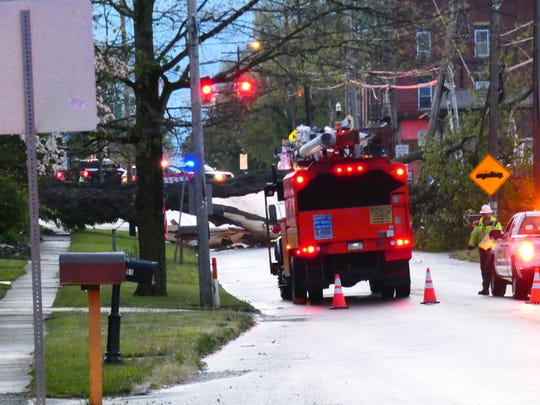 A large tree was knocked down and blocked Ohio 37 in Alexandria when two rounds of thunderstorms rolled through Licking County on Sunday evening.