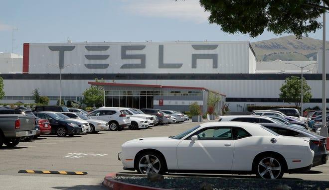 The Tesla car factory in Fremont, Calif.